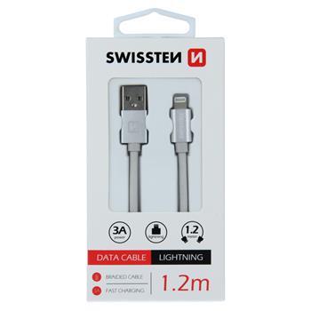 DATOVÝ KABEL SWISSTEN TEXTILE USB / LIGHTNING 1,2 M STŘÍBRNÝ