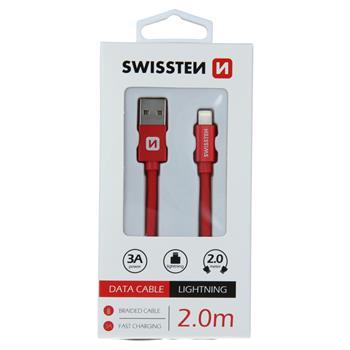 DATOVÝ KABEL SWISSTEN TEXTILE USB / LIGHTNING 2,0 M ČERVENÝ