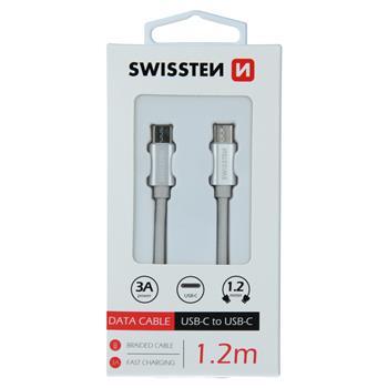DATOVÝ KABEL SWISSTEN TEXTILE USB-C / USB-C 1,2 M STŘÍBRNÝ