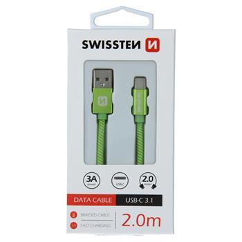 DATOVÝ KABEL SWISSTEN TEXTILE USB / USB-C 2,0 M ZELENÝ