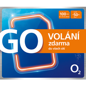 O2 GO SIM KARTA - kredit 50,- Kč Tarif zdarma volání do O2