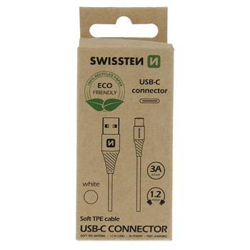 DATOVÝ KABEL USB/USB-C  BÍLÝ 1,2M  (ECO BALENÍ)