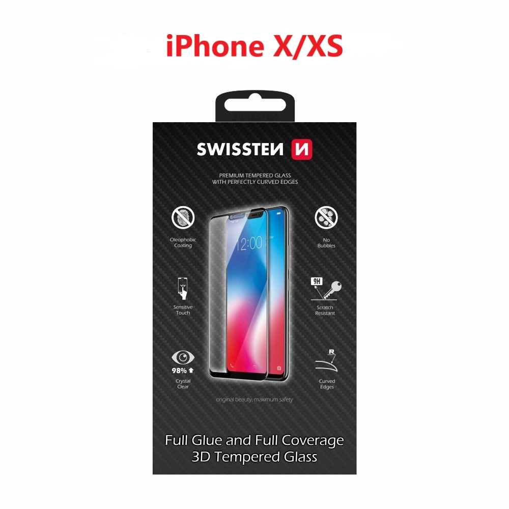 SKLO SWISSTEN ULTRA DURABLE 3D FULL GLUE GLASS APPLE IPHONE X/XS ČERNÉ