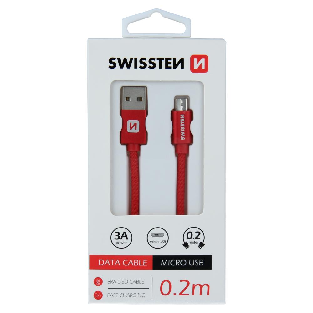 DATOVÝ KABEL SWISSTEN TEXTILE USB / MICRO USB 0,2 M ČERVENÝ