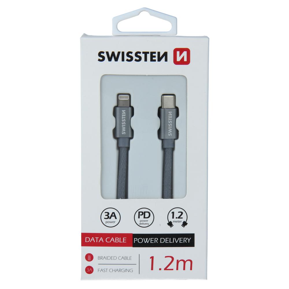 DATOVÝ KABEL SWISSTEN TEXTILE USB-C / LIGHTNING 1,2 M ŠEDÝ