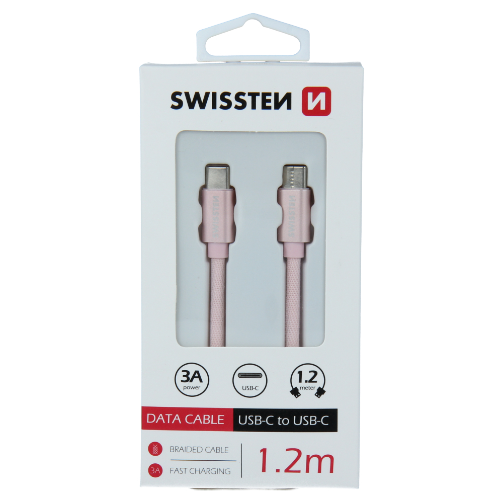 DATOVÝ KABEL SWISSTEN TEXTILE USB-C / USB-C 1,2 M RŮŽOVO/ZLATÝ