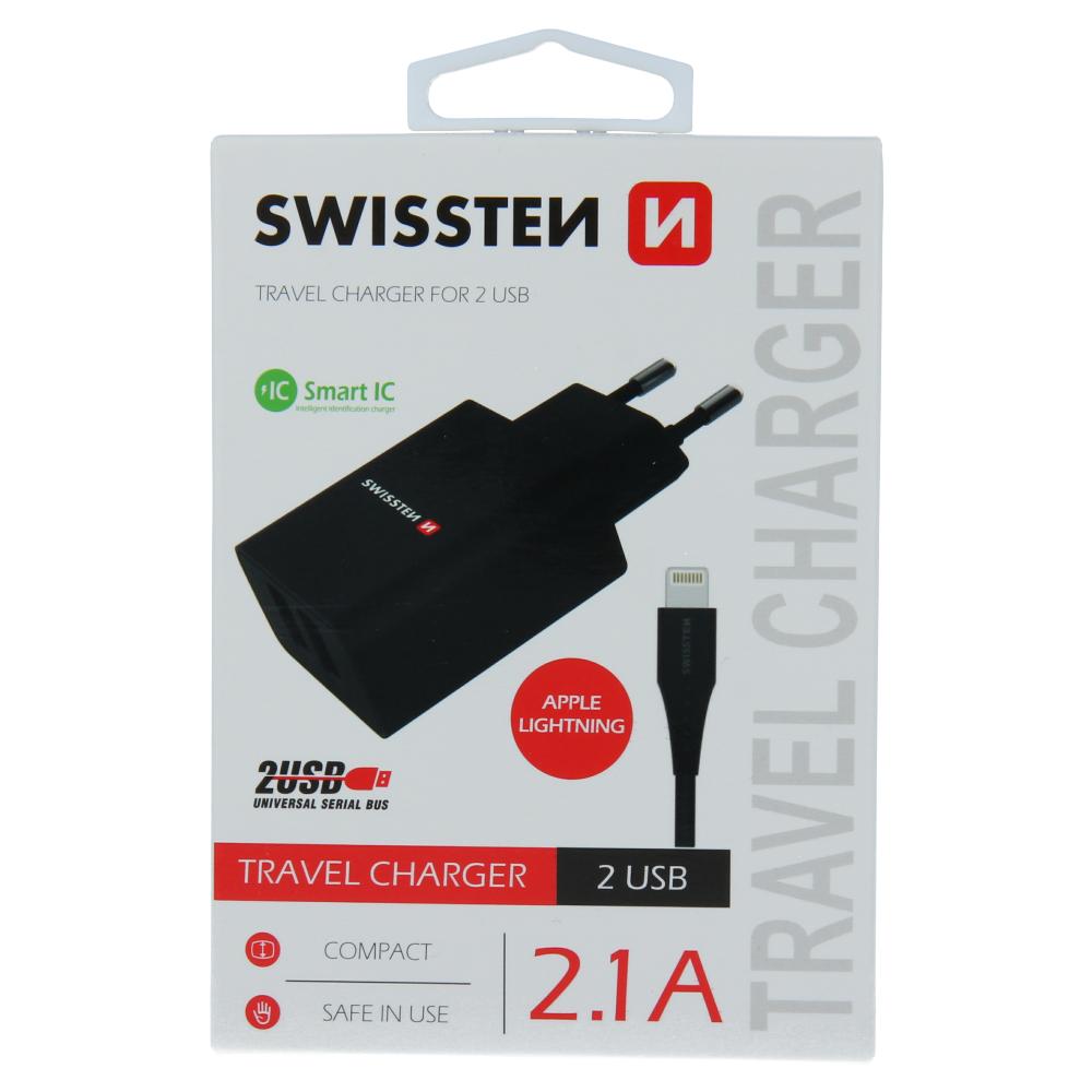 SWISSTEN SÍŤOVÝ ADAPTÉR SMART IC 2x USB 2,1A POWER + DATOVÝ KABEL USB / LIGHTNING 1,2 M ČERNÝ