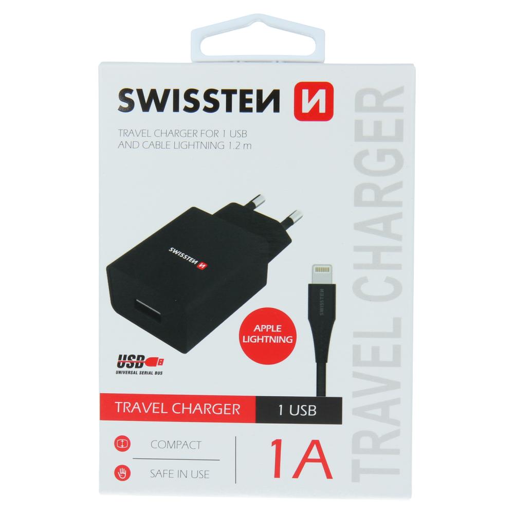 SWISSTEN SÍŤOVÝ ADAPTÉR SMART IC 1x USB 1A POWER + DATOVÝ KABEL USB / LIGHTNING 1,2 M ČERNÝ