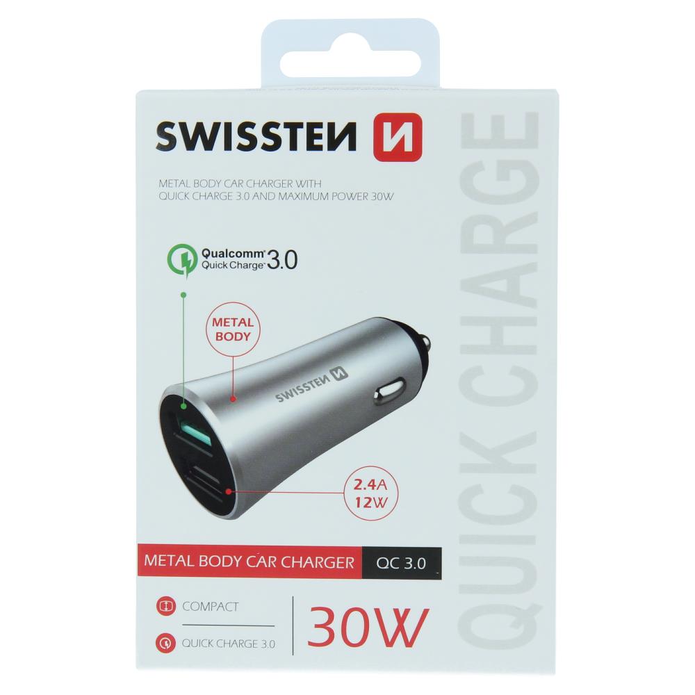 SWISSTEN CL ADAPTÉR QUICK CHARGE 3.0 + USB 2,4A 30W METAL STŘÍBRNÝ