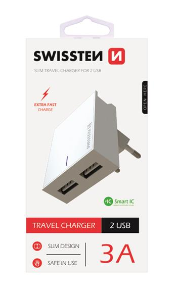 SWISSTEN SÍŤOVÝ ADAPTÉR SMART IC 2x USB 3A POWER BÍLÝ