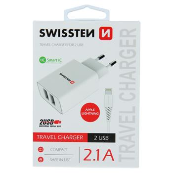 SWISSTEN SÍŤOVÝ ADAPTÉR SMART IC 2x USB 2,1A POWER + DATOVÝ KABEL USB / LIGHTNING 1,2 M BÍLÝ